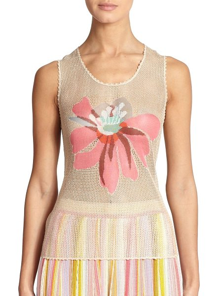 Missoni Flower mesh crochet tank in nudemulti - A bright tropical flower graces the front of this...