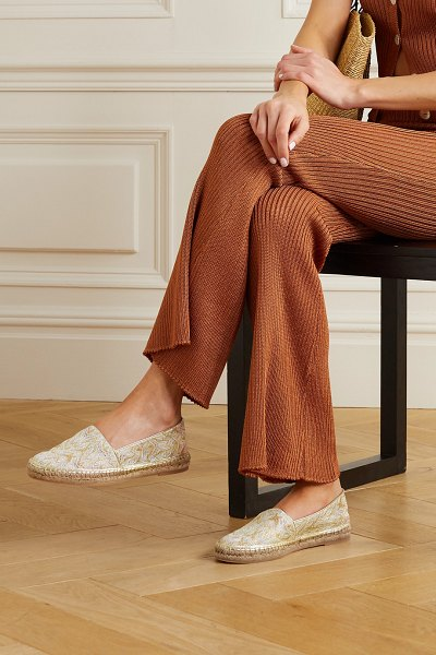 Missoni metallic crochet-knit canvas espadrilles in gold