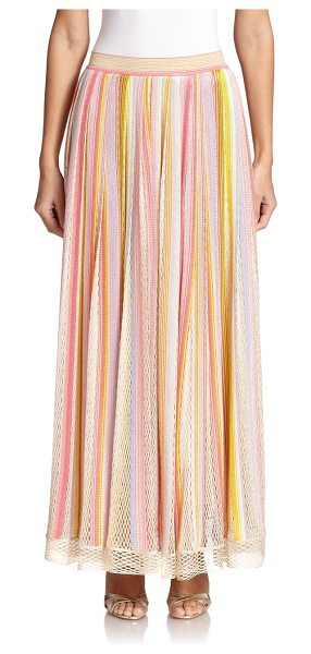 Missoni Multi-stripe knit maxi skirt in pinkmulti - Crocheted netting panels lend bohemian appeal to this...