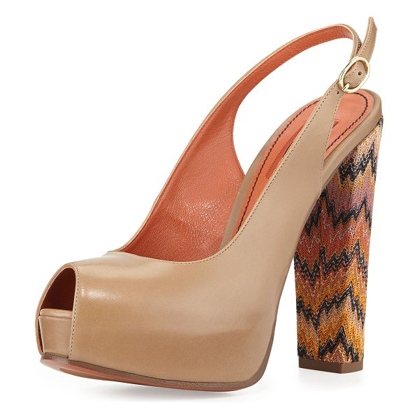 "Missoni Peep-toe slingback pump in beige multi -  Missoni leather slingback platform pump. 5. 5"" covered..."