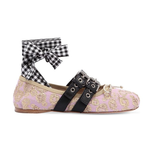 Miu Miu 10mm buckled jacquard ballerina flats in pink - 10mm Leather sole. Leather straps with buckle closures ....