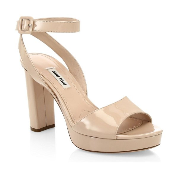 Miu Miu block heel platform sandals in blush
