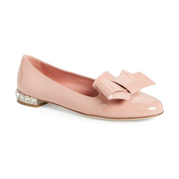 Miu Miu bow loafer in nude patent - A lavish oversized bow details the almond toe of a...