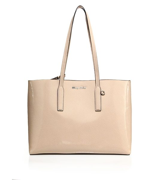 Miu Miu crackled patent leather tote in cipria - Glossy patent tote with crackled finish and zip pouch....