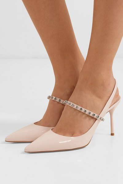 Miu Miu crystal-embellished patent-leather slingback pumps in baby pink