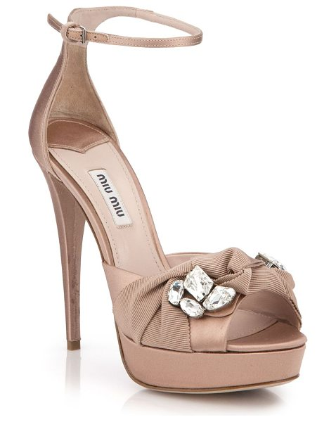 Miu Miu Crystal & ribbon-embellished satin sandals in nude