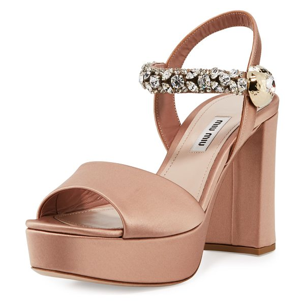 "Miu Miu Crystal Satin Platform Sandal in beige - Miu Miu satin sandal. 5"" covered block heel; 1.3""..."