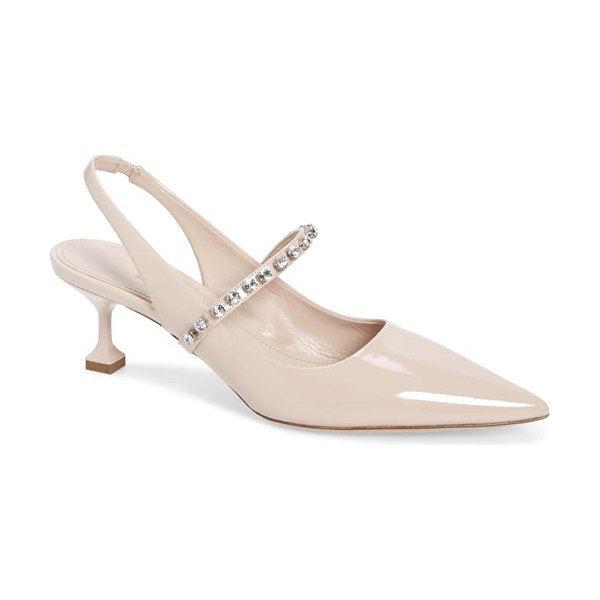 Miu Miu crystal strap pointed toe slingback pump in beige