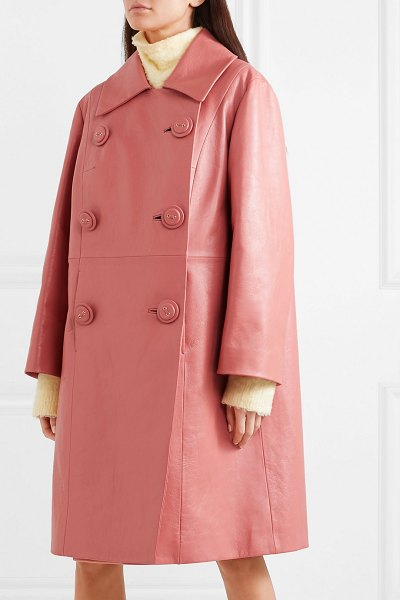 Miu Miu double-breasted leather coat in pink