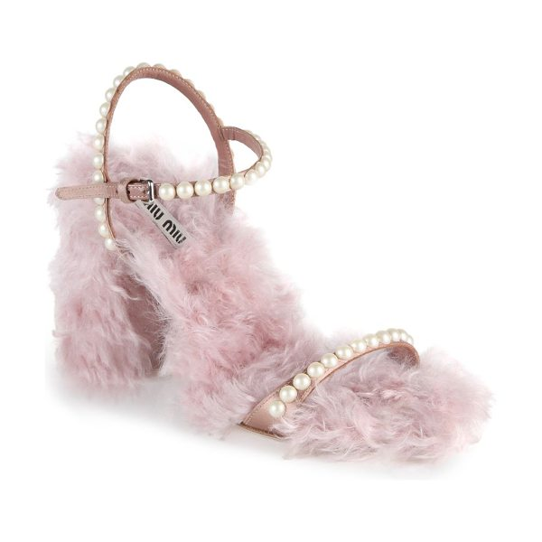 Miu Miu embellished eco shearling ankle-strap sandals in pink - Lavish sandal with plush eco fur and pearly studs....