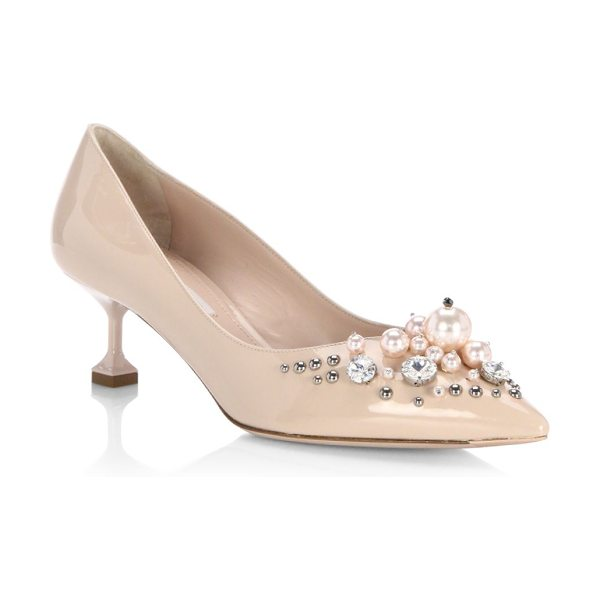 Miu Miu embellished patent leather pumps in cipria - Leather pumps with pearl and stud details on toe. Kitten...