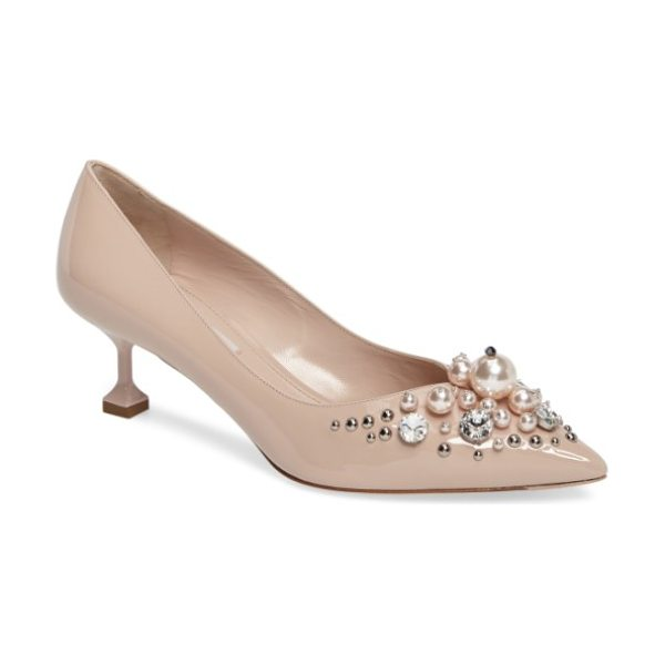 MIU MIU embellished pedestal heel pump - A garden of crystals, studs and pearly beads blooms...