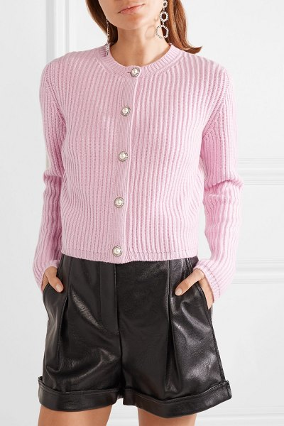 Miu Miu embellished ribbed cashmere cardigan in baby pink - Miu Miu often take a retro-inspired approach to its...