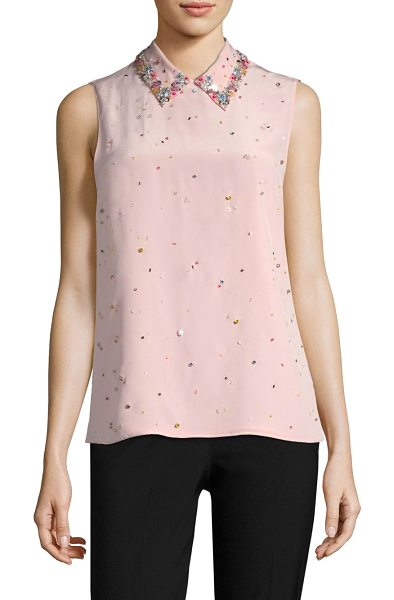 MIU MIU embroidered button-back blouse - Chic sleeveless top with sparkling embellished sequin...