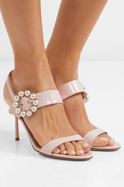 Miu Miu faux pearl-embellished patent-leather slingback sandals in pastel pink - Miu Miu's embellished sandals have a sweet retro feel to...