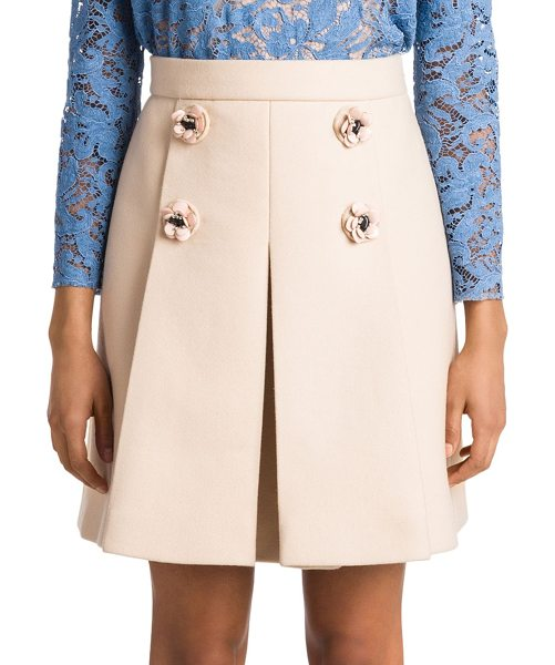 Miu Miu floral wool skirt in light camel - Pleated wool skirt accented with floral buttons. Double...