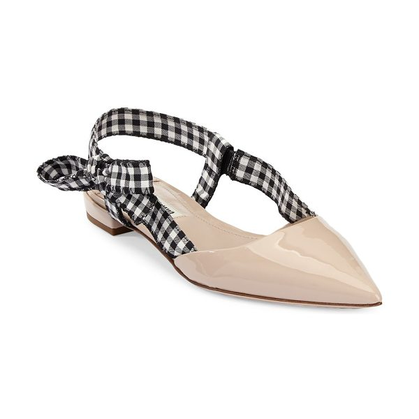 Miu Miu gingham leather slingback flats in cipria - Leather slingback flats with a check patterned strap....