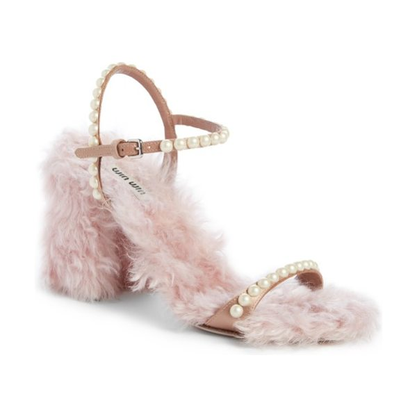 Miu Miu imitation pearl embellished faux fur sandal in pink/ nude - Pearly beads embellish the slim straps of a sumptuous...
