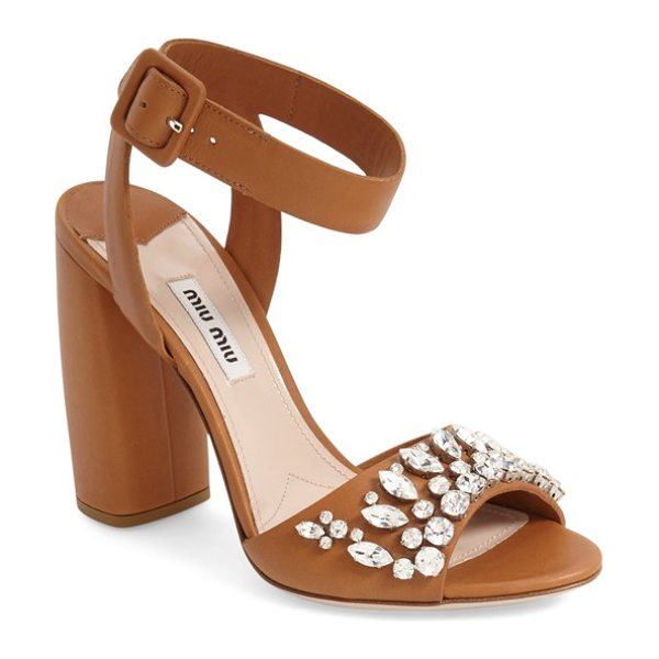 Miu Miu jewel sandal in brown leather -