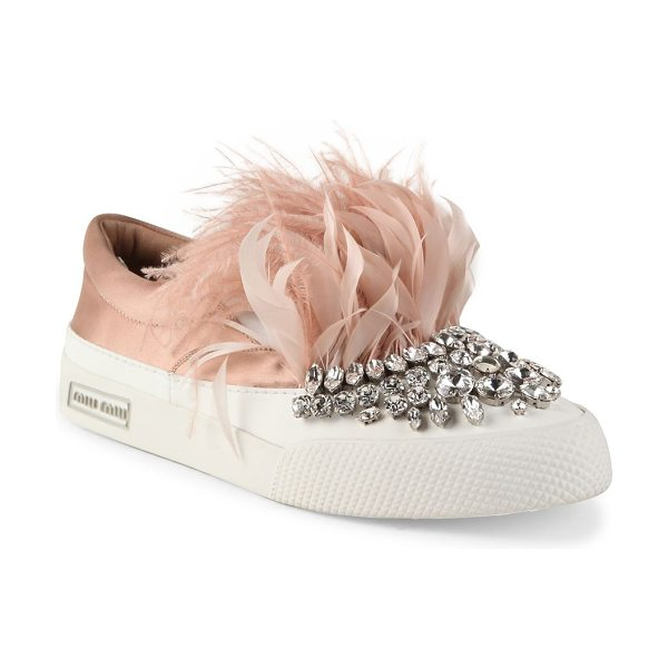 Miu Miu jeweled feather & satin skate sneakers in nude - Jeweled slip-on sneaker with feather trim. Satin and...