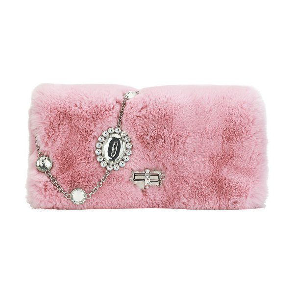 Miu Miu Jeweled Fur Chain Clutch Bag in medium pink - Miu Miu clutch bag in dyed rabbit (China) fur with...