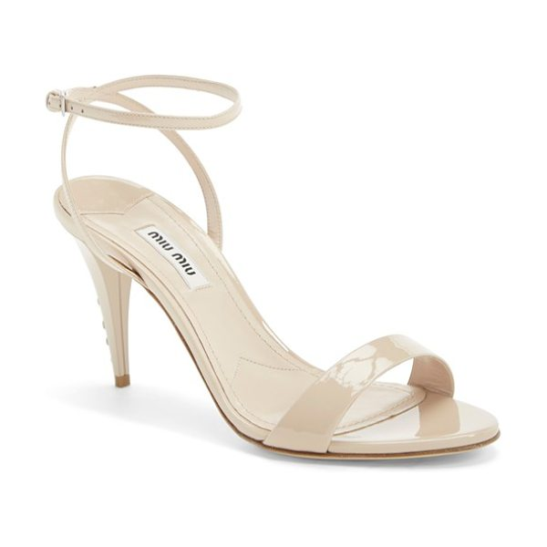 """Miu Miu jeweled heel ankle strap sandal in cipria patent - 3 1/2"""" heel; 4"""" ankle strap height (size 39).Adjustable..."""