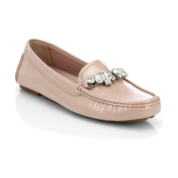 Miu Miu Swarovski crystal patent leather loafers in blush - Go-anywhere wardrobe staple in lustrous patent leather...