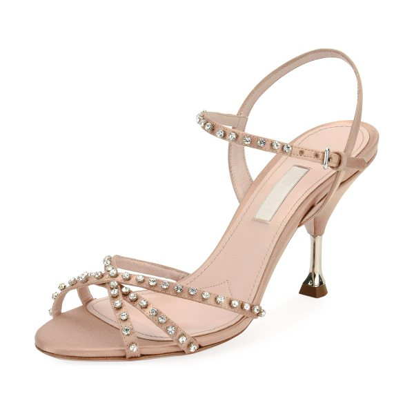 "Miu Miu Jeweled Strappy Suede Sandal in naturale - Miu Miu suede sandal with jeweled embellishments. 3.3""..."
