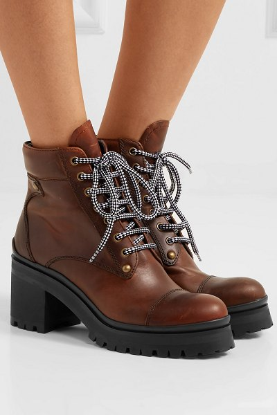 Miu Miu lace-up leather ankle boots in brown
