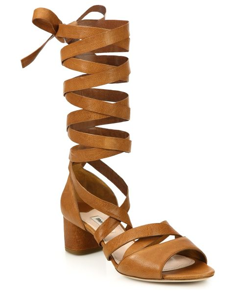 Miu Miu Leather lace-up gladiator sandals in brown - Strappy leather block-heel sandal in tall lace-up...