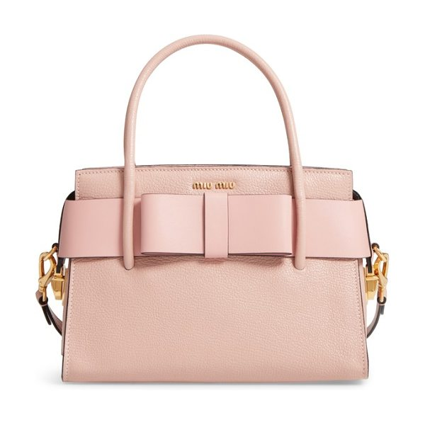 Miu Miu madras ficco leather satchel in pink - A compact look with plenty of room, this structured...