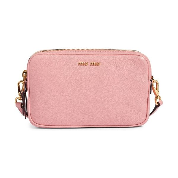 MIU MIU madras goatskin leather crossbody bag - Structured like a camera bag but crafted in luxe...