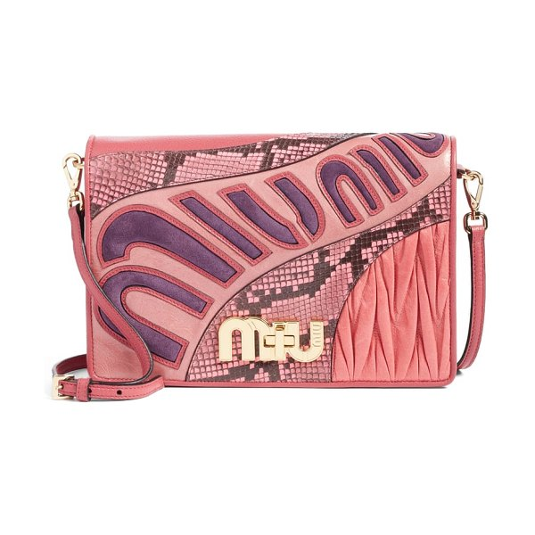 Miu Miu madras goatskin leather shoulder bag with genuine python trim in pink - Sweeping, stylized logo appliques add a '70s vibe to a...