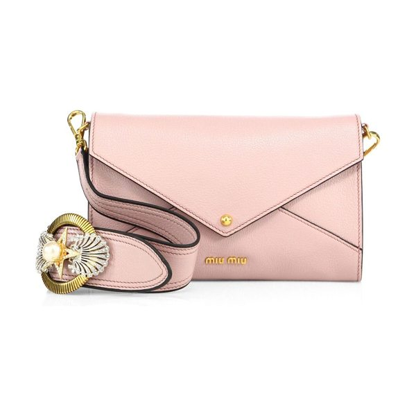 Miu Miu madras leather envelope crystal-buckle shoulder bag in pink
