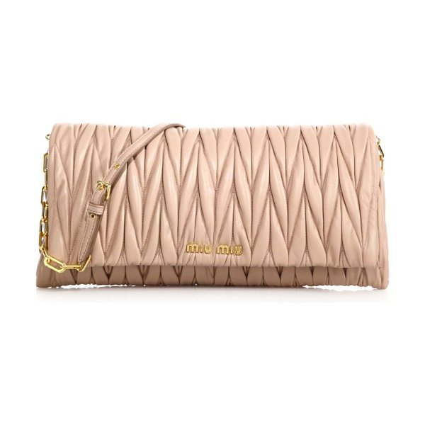 MIU MIU matelasse clutch - Matelasse leather lends elegant texture to this sleek...