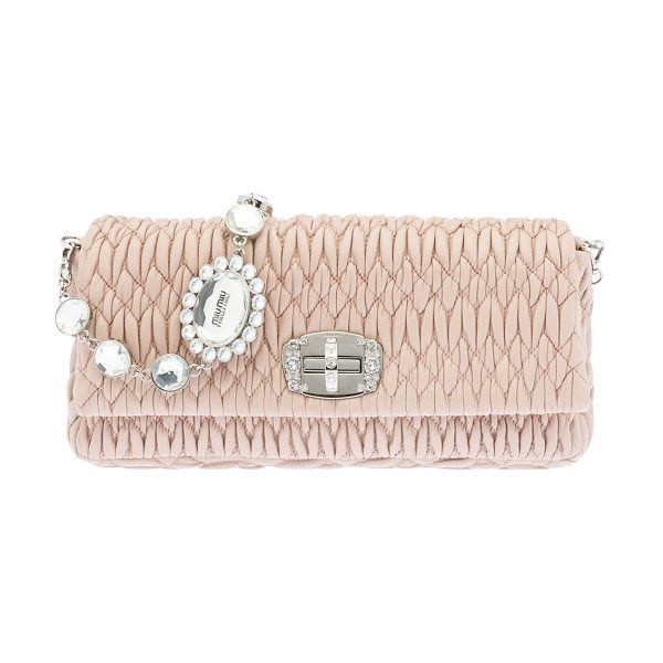 MIU MIU Matelasse Leather Crystal-Lock Shoulder Bag - Miu Miu matelasse napa leather shoulder bag....