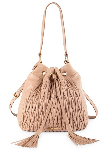 Miu Miu matelasse leather double strap bucket bag in tan - Spacious bucket bag with signature matelasse stitching....