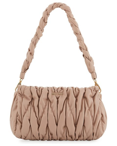 Miu Miu Matelasse Leather Tote Bag in blush - Miu Miu matelasse lamb leather bag with golden hardware....
