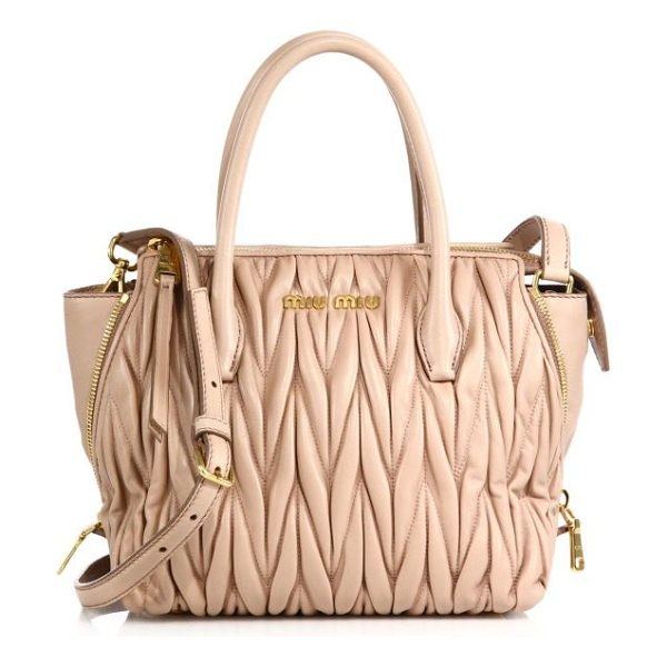 Miu Miu matelasse small zip tote in cream - Matelasse leather lends luxe texture and timeless...