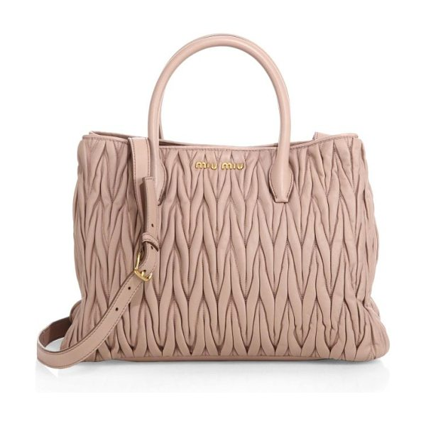 Miu Miu Matelasse tote in cammeo-nude - Miu Miu's signature matelasse leather creates a...