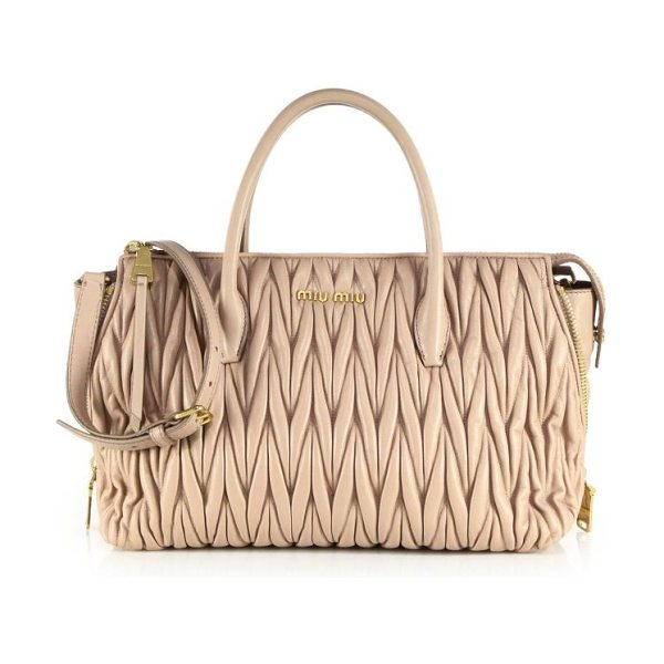 Miu Miu Matelasse zip tote in cream - Matelasse leather lends luxe texture and timeless...