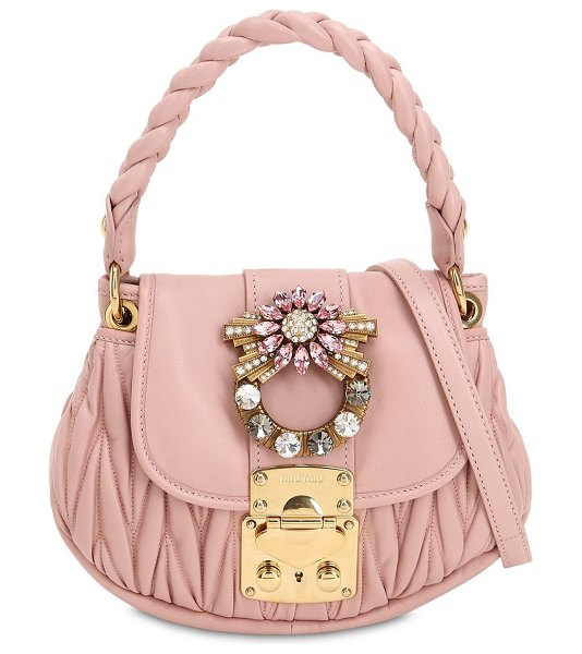 Miu Miu Mini coffer crystal buckle leather bag in pink - Height: 17.5cm   Width: 24cm   Depth: 6.5cm ....