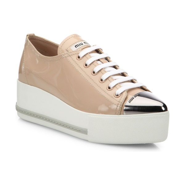 Miu Miu Patent leather cap-toe platform sneakers in cipria - Patent platform sneaker with modern metal cap toe....