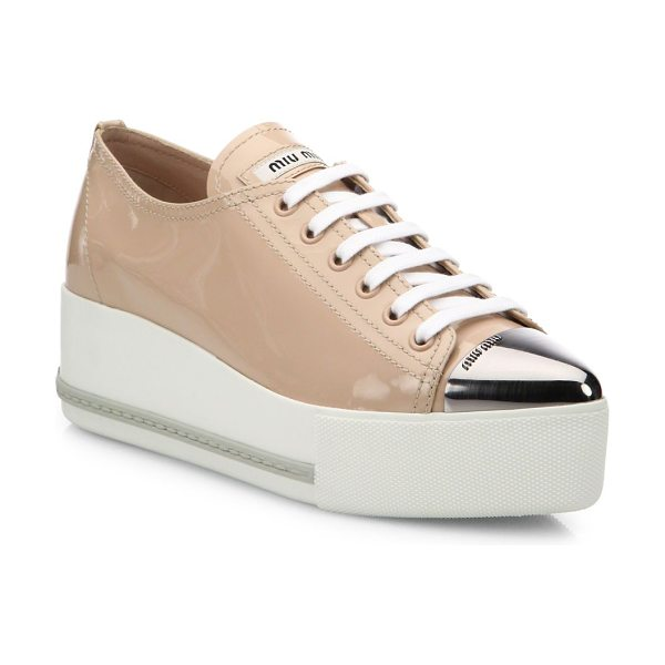 Miu Miu patent leather platform cap-toe sneakers in cipria - Patent platform sneaker with modern metal cap toe....