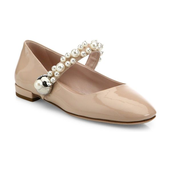 MIU MIU pearly patent leather mary jane flats - EXCLUSIVELY AT SAKS FIFTH AVENUE. Patent Mary Jane flat...