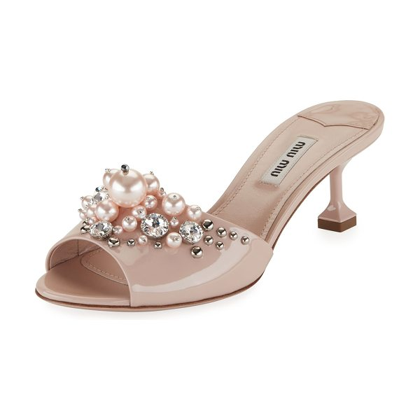 Miu Miu Pearlescent Embellished Slide Sandal in beige - Miu Miu patent leather sandal with pearlescent beads and...