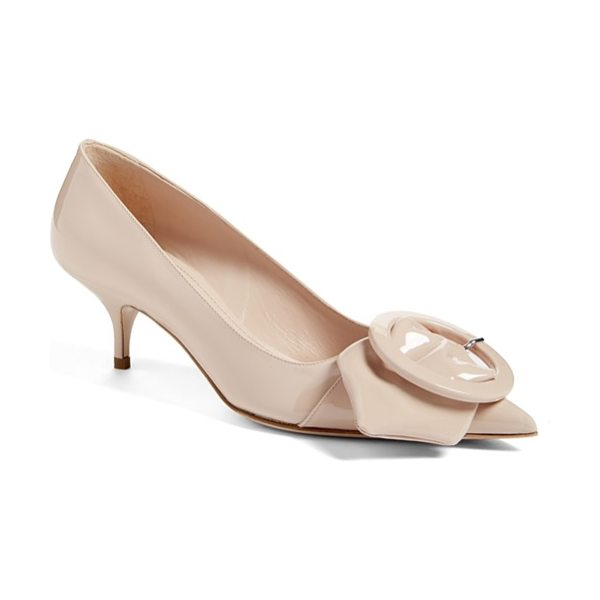 Miu Miu pointy toe buckle pump in nude patent - An outsize strap and buckle adorn the dramatically...