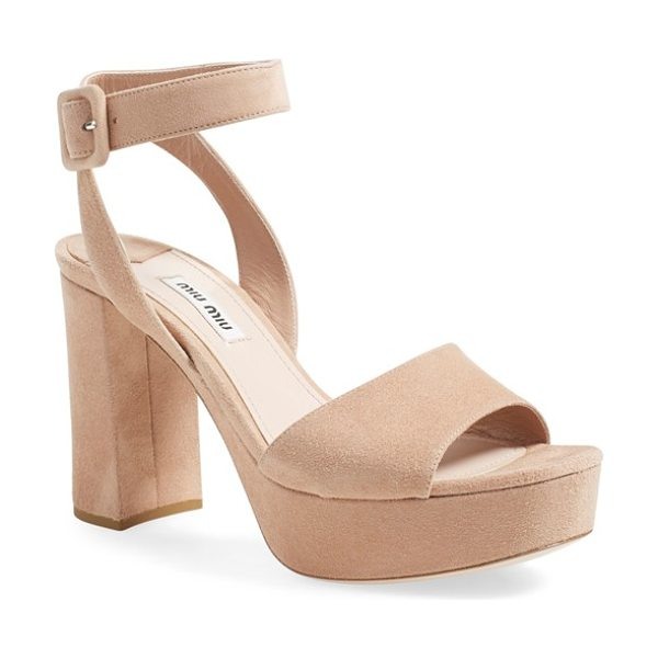 Miu Miu 'sandali' ankle strap sandal in beige - A bold block heel and platform intensify the '70s-chic...