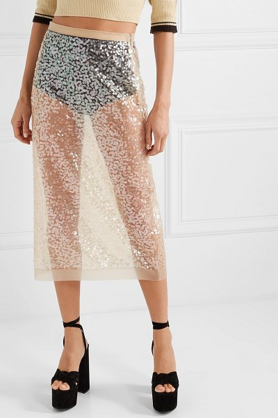 Miu Miu sequined tulle midi skirt in beige
