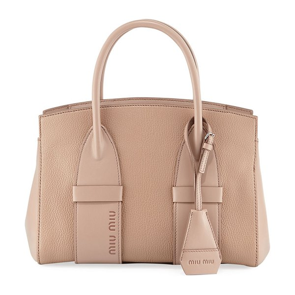 Miu Miu Small Madras Calf Tote Bag in beige